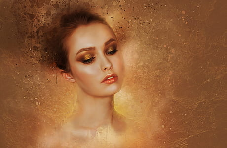 brown haired woman painting