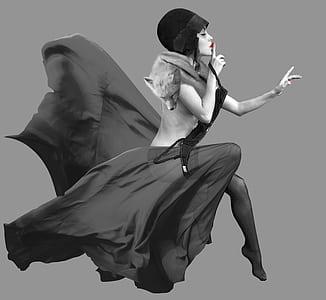 woman with black dress photo