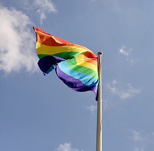 shallow focus photography of LGBT flag on white steel pole