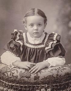 grayscale photo of girl wearing dress