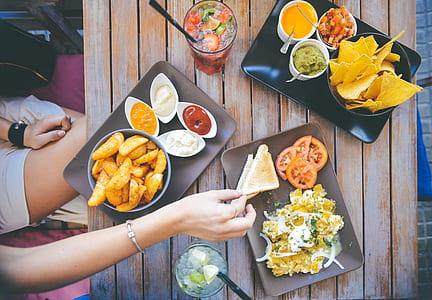 assorted food on ceramic plates