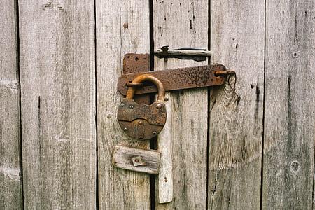 lock padlock on gray door
