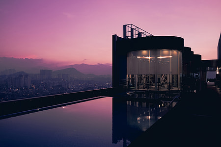Rooftop swimming pool at sunset at a hotel in Malaysia