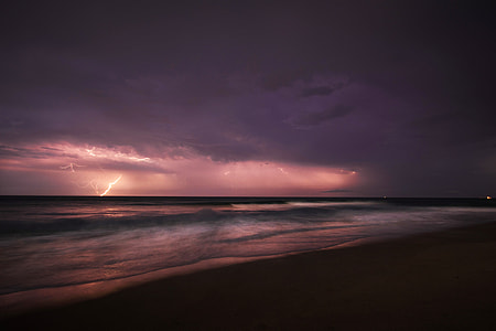 seashore photo during thunder storm