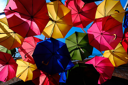 Colorful umbrellas in the rain