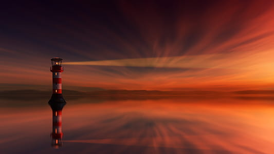 view of lighthouse during sunset