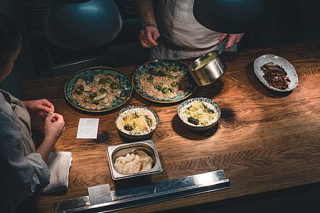 Open kitchen in a fancy restaurant
