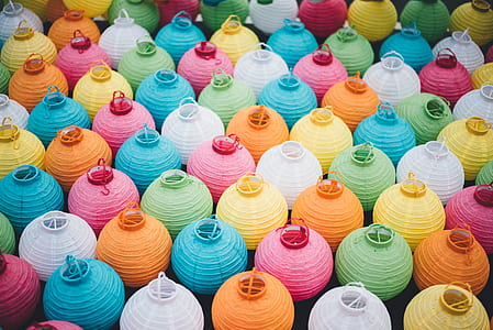 assorted-color paper lanterns