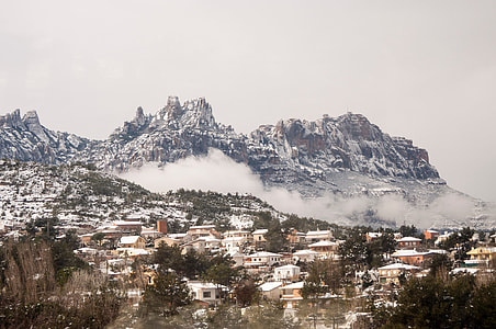 aerial view foggy mountain photo