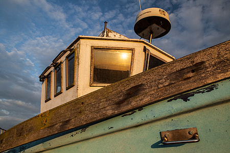 Cropped shot on an old boat on the coast of Dungeness, Kent, England
