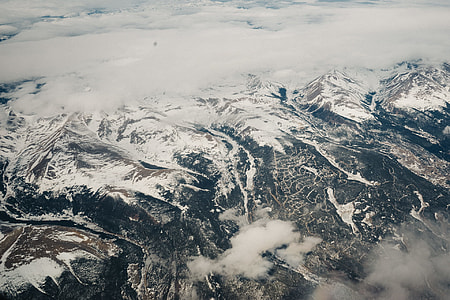 aerial photo of white and black mountains
