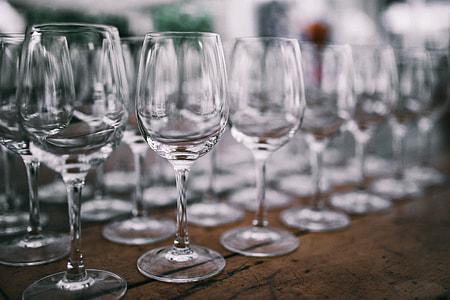 Empty wine glasses