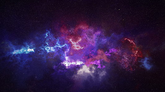 blue, white, purple, and red nebula