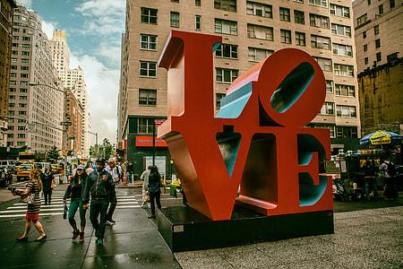 Street shot of the giant love sign in Manhattan, New York City