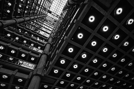 Wide-angle interior shot of the Lloyds Building in the City of London. Image captured with a Canon 5D DSLR