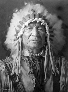 grayscale photography of male native American