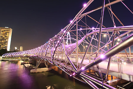 metallic suspension lighted bridge under clear sky at night time