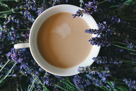 Overhead shot of a cup of tea and flowers