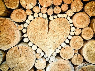 wood logs forming heart wallpape