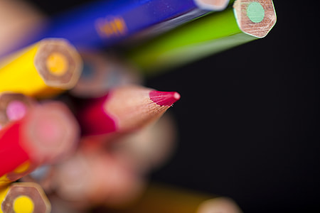 macro photography of color pencils