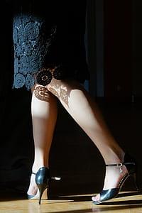 woman in pair of black pumps