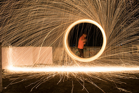 A man doing a spectacular light painting