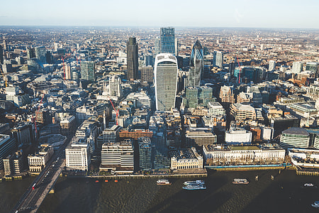 Aerial View City Skyline Skyscraper