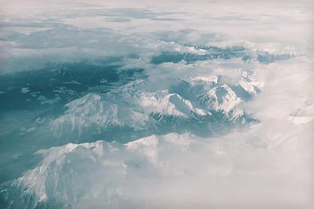 snow mountain aerial photo