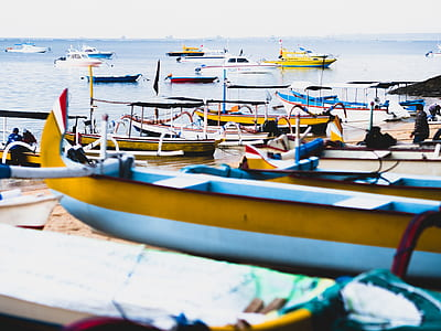 Group of Boats on Sea