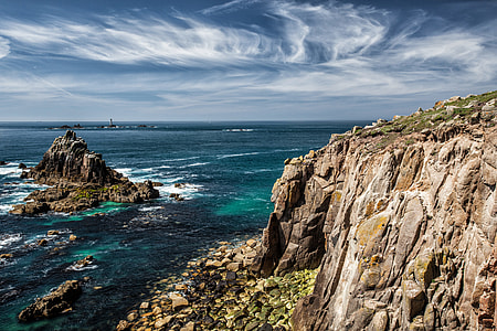 Coastal shot of rock formations in Cornwall, England. Image captured with a Canon 5D DSLR