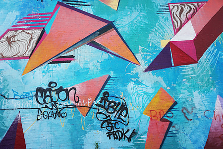 blue, red, and black graffiti board
