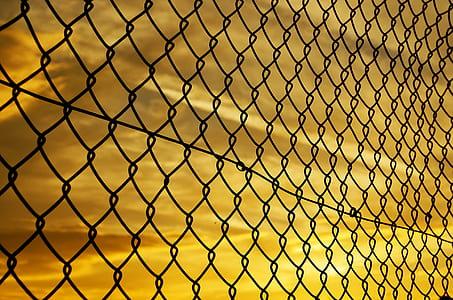 grey steel chain fences