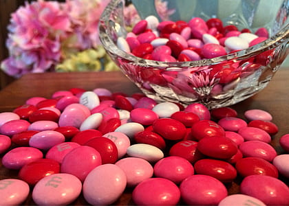 Pink M&ms on Table