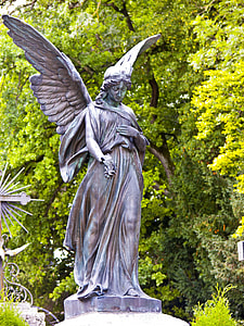 photography of angel concrete statue
