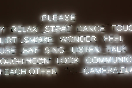 assorted text LED signage