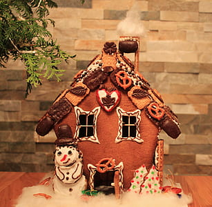 gingerbread house on brown surface