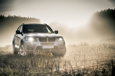 photo of silver BMW vehicle on green field