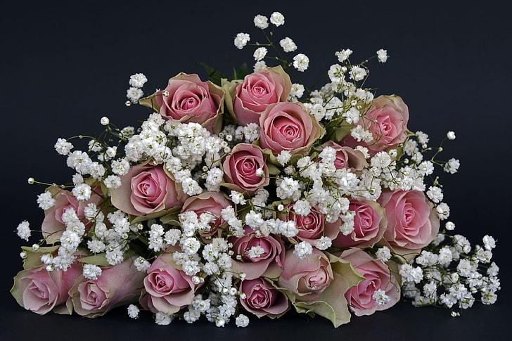 pink and white petaled flower arrangement