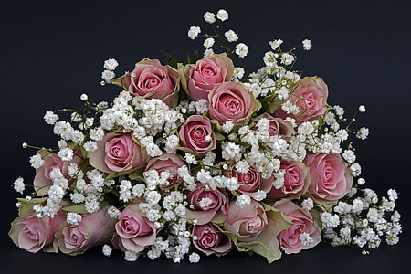 pink and white petaled flower arrangement