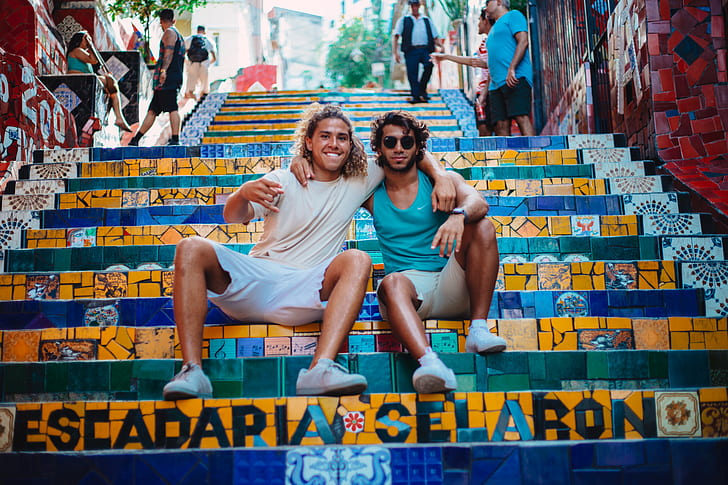steps, stairs, friends, city, urban