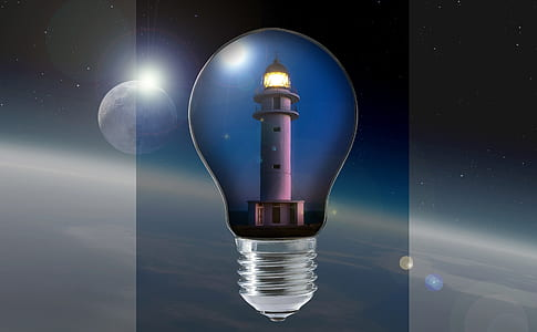 lighthouse inside bulb illustration