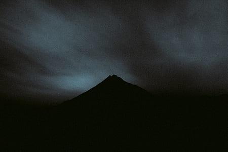 mountain, volcano, rock, silhouette, dark