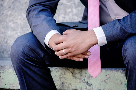 Wedding groom in suit and tie
