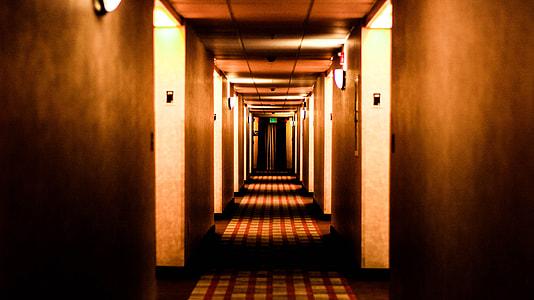 empty brown lighted hallway
