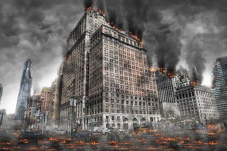 gray concrete building on fire illustration
