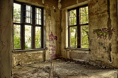 brown steel window frames