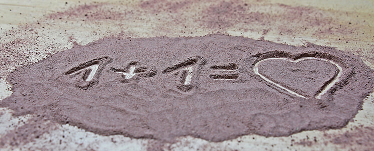 1 + 1 += heart sand art
