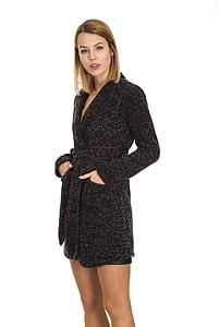woman wearing black bathrobe