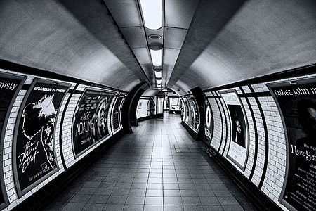 Wide angle shot taken in the tunnels on the London Underground