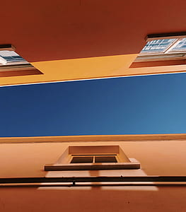 worm eyes view of orange building